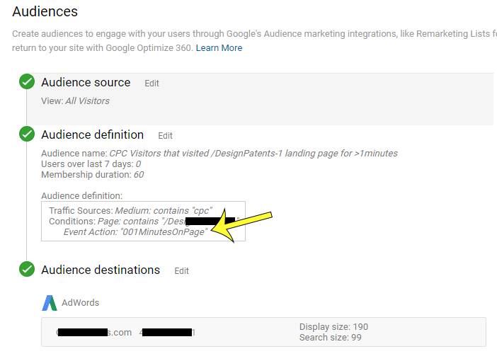 Google Adwords screenshot showing conditions using Google Analytics event tracking used to optimize google remarketing list