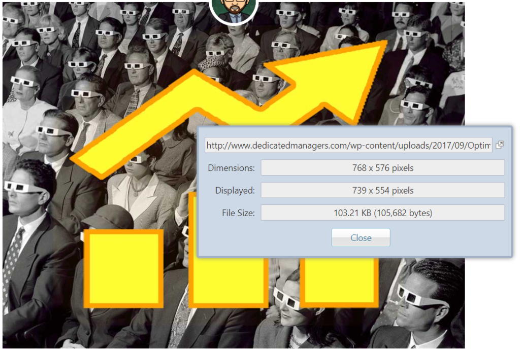 chrome plugin to show image dimensions and file size