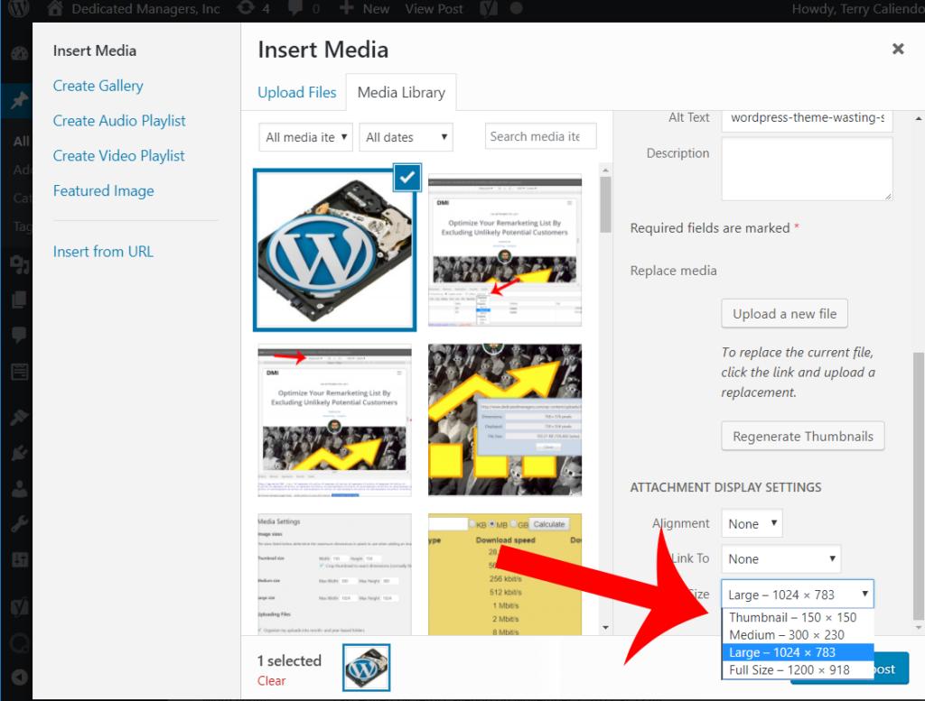 wordpress insert image size via media library