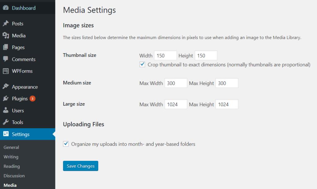 wordpress media library default image sizes