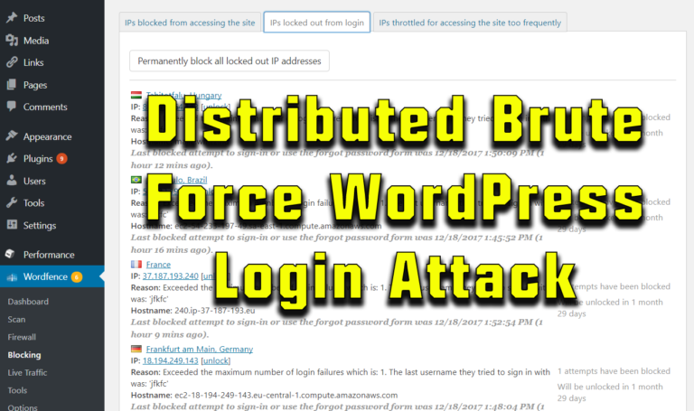 Distributed Brute Force Login Attack on Wordpress
