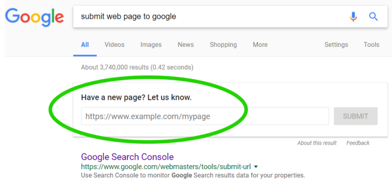 Submit your new website page or blog post for instant inclusion in googles search results.circled