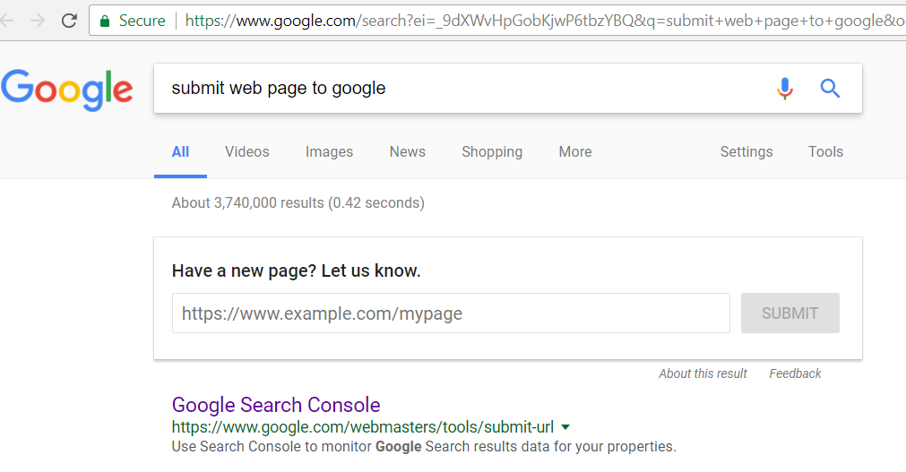 Submit your new website page or blog post for instant inclusion in googles search results
